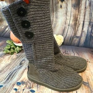 UGG Grey Tall Knit Classic Cardy Boots 7